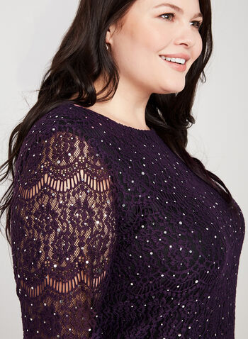 Sequin Lace Dress, Purple,  sequin, lace, cocktail, midi, ¾ sleeves, 3/4 sleeves, scoop neck, illusion, fall 2019, winter 2019