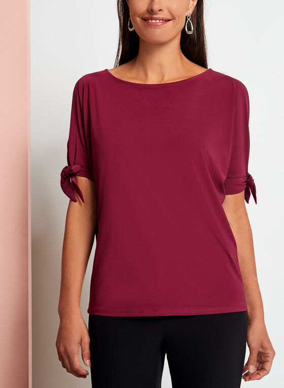 Cold Shoulder Tie Sleeve Blouse, Red, hi-res