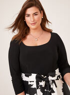 Robe midi avec jupe satinée à motif abstrait, Noir, hi-res