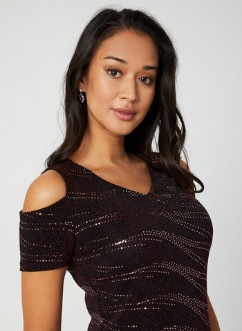 Cold Shoulder Metallic Top, Black, hi-res,  top, metallic, cold shoulder, v-neck, knit, fall 2019
