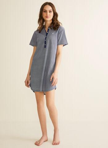 Claudel Lingerie - Short Sleeve Nightshirt, Blue,  sleepwear, nightshirt, print, short sleeves, buttons, stretchy, spring summer 2020