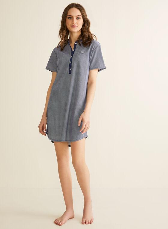 Claudel Lingerie - Short Sleeve Nightshirt, Blue