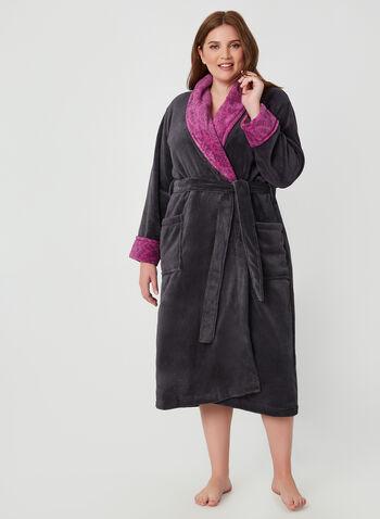 Claudel Lingerie - Robe de chambre cintrée, Gris, hi-res,  peignoir, pyjama, polar, polaire, automne hiver 2019