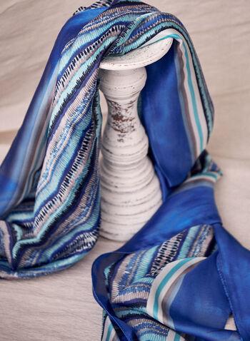 Foulard à motifs abstraits et bordure unie , Bleu,  foulard, motifs abstraits, effet soie, bordure contrastante, oblongue, printemps été 2021, importation