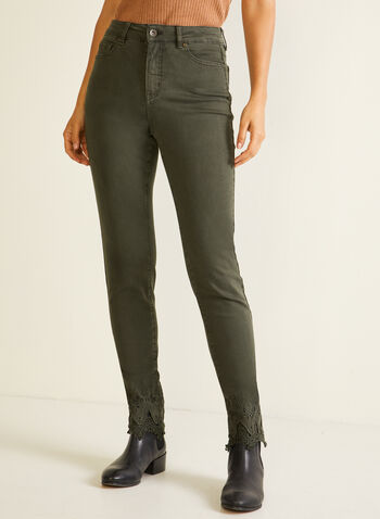 Embroidered Hem High Rise Jeans , Green,  fall winter 2020, jeans, embroidered, pockets, high rise, slim leg