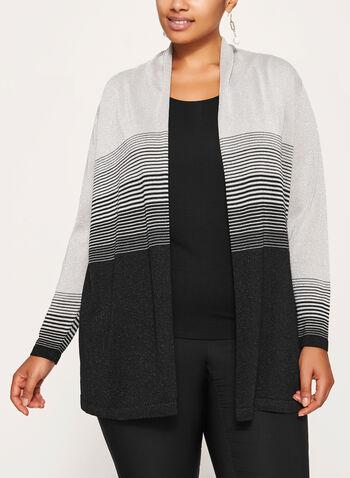 Stripe Print Open Front Cardigan, Black, hi-res
