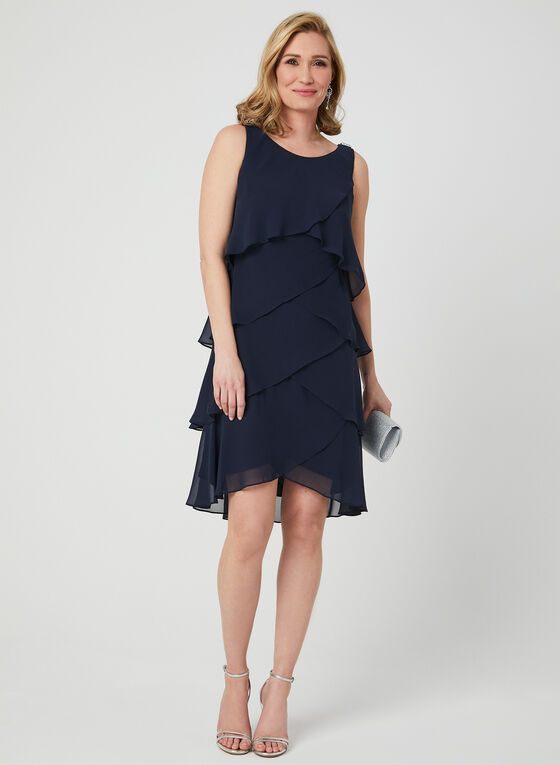 Tiered Chiffon Dress, Blue, hi-res