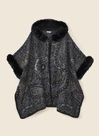 Faux Fur Detail Poncho, Black