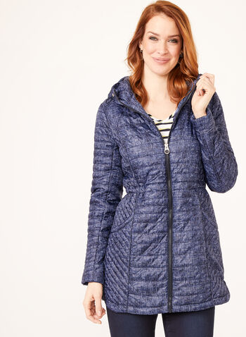 Lightweight Denim Print Quilted Coat, Blue, hi-res
