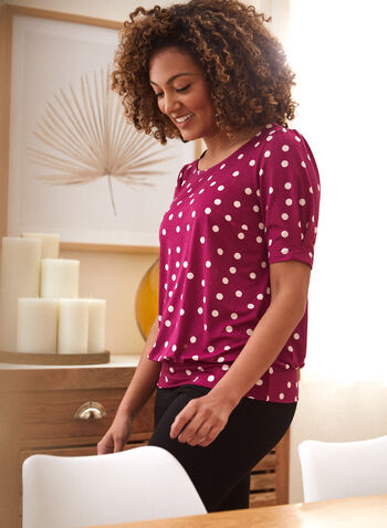 T-shirt à pois à manches bouffantes, Violet,  fait au canada, encolure arrondie, manches bouffantes, motif, pois, automne 2021