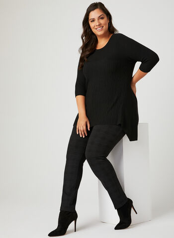 ¾ Sleeve Rib Knit Tunic, Black, hi-res