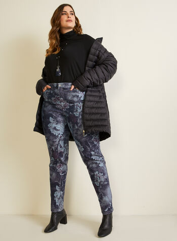 Floral Print Straight Leg Pants, Grey,  fall winter 2020, jeans, denim, straight leg, floral, pattern, pockets