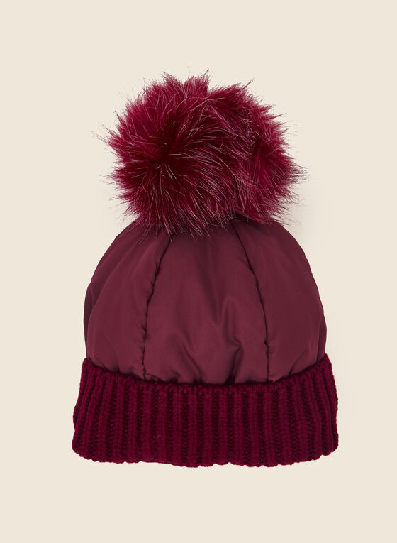 Removable Pom Pom Quilted Hat, Red