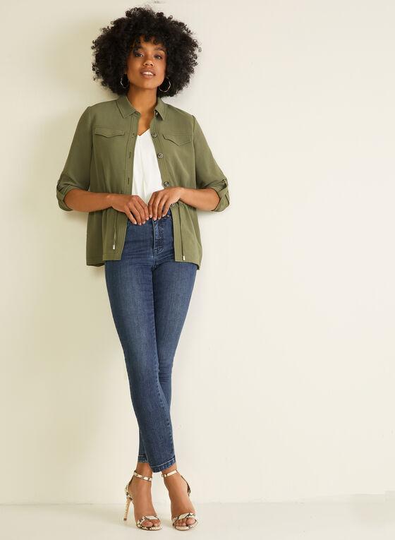 Shirt Collar Drawstring Detail Jacket, Green