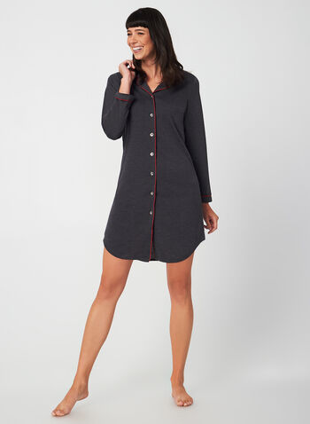 Midnight Maddie - Long Sleeve Nightshirt, Grey,  Midnight Maddie, sleepwear, pyjama, nightgown, nightshirt, fall 2019, winter 2019