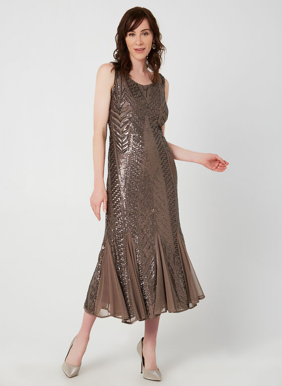 Sleeveless Sequin Dress, Brown