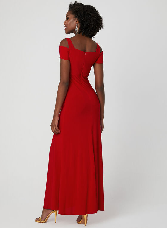 Cold Shoulder Empire Waist Dress, Red, hi-res