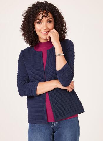 Ottoman Knit Cardigan, Blue, hi-res