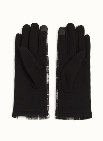 Plaid Print Double-Faced Gloves, Black, hi-res