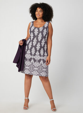 Dress & Cardigan Set, Purple, hi-res,  day dress, fall winter 2019, brocade print, jersey, long sleeve