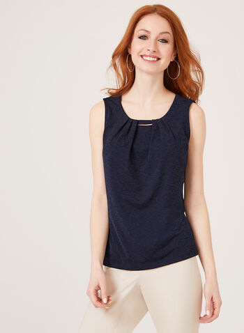 Sleeveless Top With Metallic Detail, Blue, hi-res