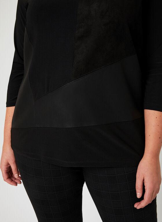 Ness - Haut en faux daim et faux cuir , Noir, hi-res