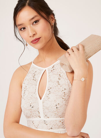 Sequin Lace Halter Top Dress, Off White, hi-res