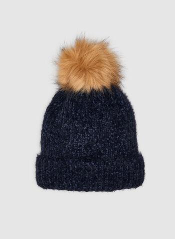 Yarn Tuque , Blue,  tuque, knit tuque, yarn tuque, yarn, faux fur, faux fur pompom, faux fur hat, fall 2019, winter 2019