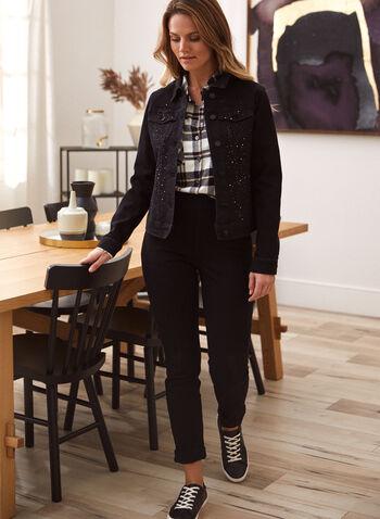 Rhinestone Detail Jean Jacket, Black,  fall 2021, fall winter 2021, shirt collar, long sleeve, chest pocket, jean jacket, denim jacket, jacket, rhinestone, embellished, tonal, stretch denim