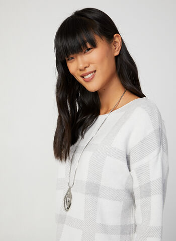 Made in Italy - Jacquard Plaid Print Sweater, White, hi-res,  made in italy, long sleeves, boat neck, sweater, cashmere, print sweater, plaid print, jacquard plaid print, fall 2019, winter 2019