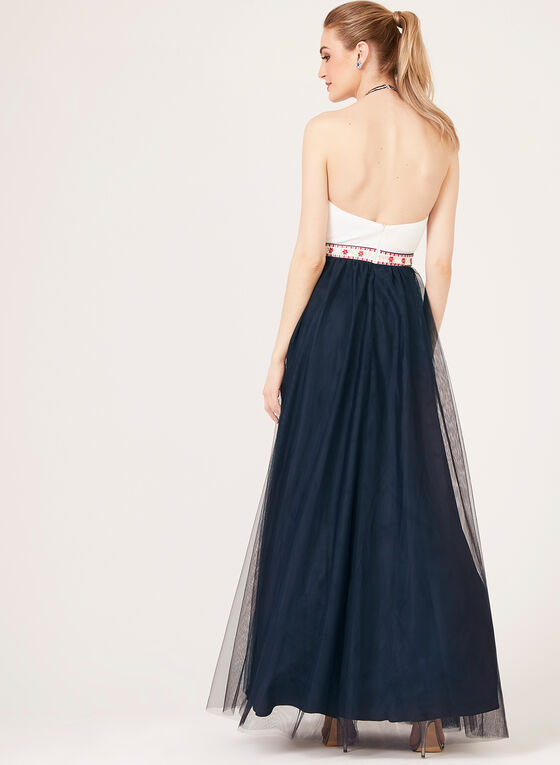 Embroidered Halter Top Tulle Gown, Blue, hi-res