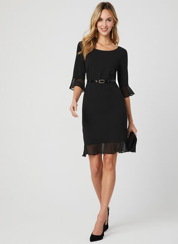 Belted Crepe Dress, Black, hi-res