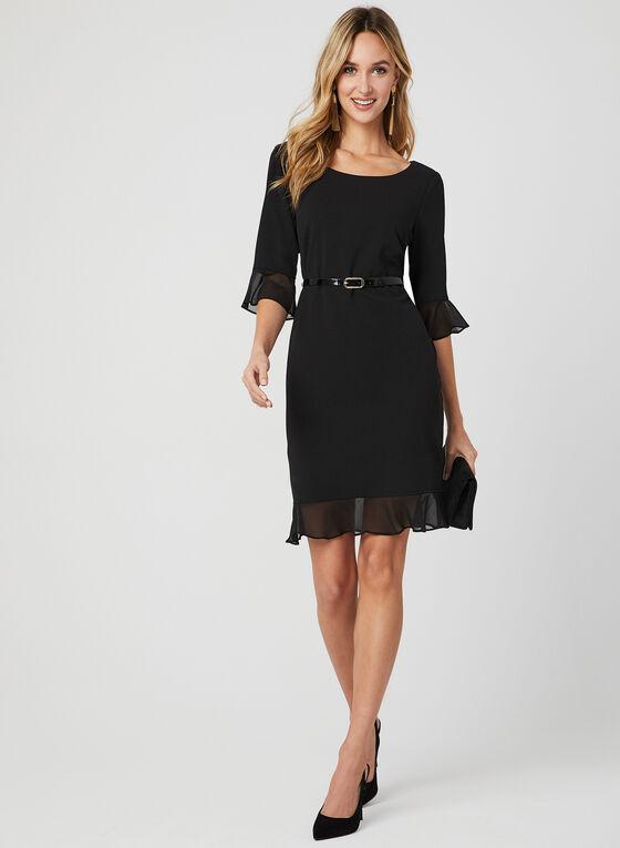 Belted Crepe Dress, Black, hi-res