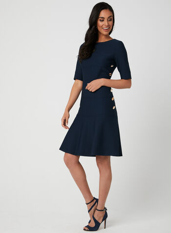 Button Detail Dress, Blue, hi-res