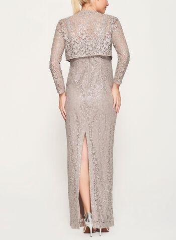 Foil Lace Dress with Bolero, , hi-res