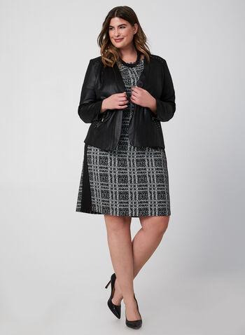 Robe à manches courtes motif tartan, Noir, hi-res,  robe, jour, tartan, fourreau. manches courtes, automne hiver 2019