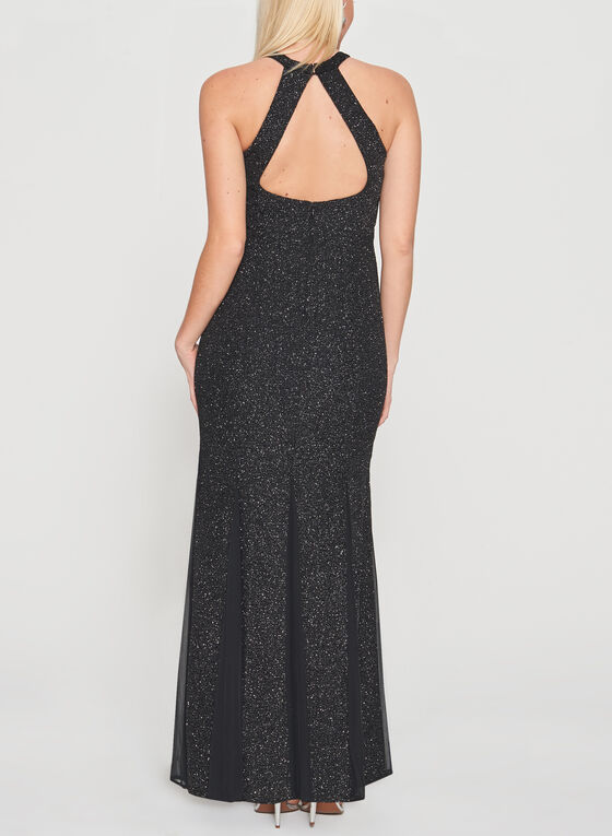 Cleo Neck Glitter Gown, Black, hi-res