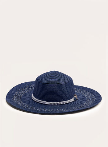 Straw Hat With Anchor Detail, Blue, hi-res