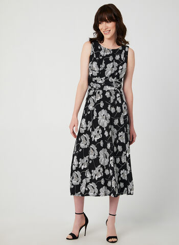 Floral Print Sleeveless Dress, Black, hi-res,  sleeveless, floral print, jersey, ruching, fall 2019, winter 2019
