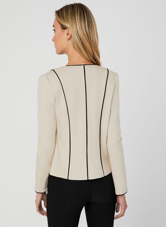 Blazer zippé à détails contrastants, Blanc cassé, hi-res