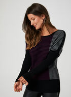 Colour Block Knit Top, Purple, hi-res