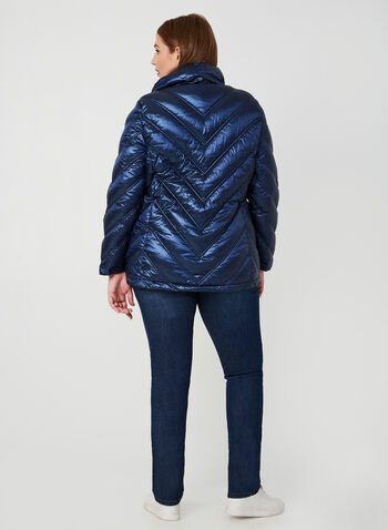Quilted Down Jacket, Blue, hi-res,  down, coat, jacket, zipper, pockets, nylon, hood, quilted, metallic, long sleeves, feather, fall 2019, winter 2019