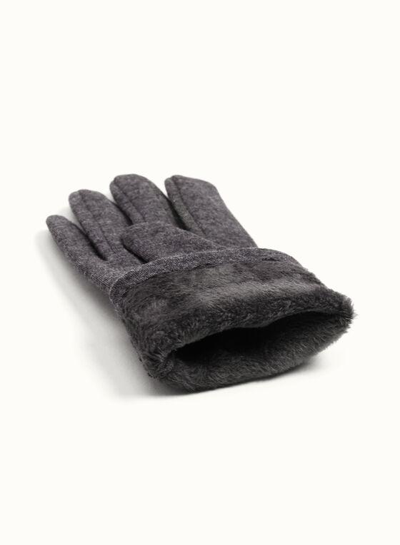 Crystal-Studded Gloves, Grey, hi-res