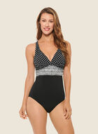 Christina - Geometric Print One-Piece Swimsuit, Black