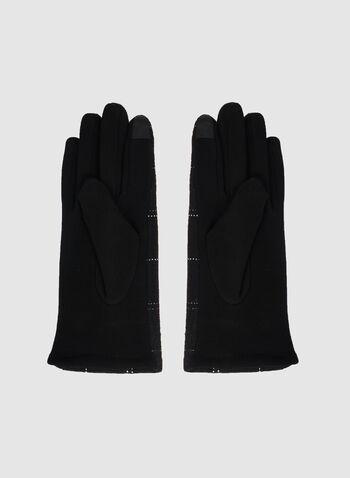 Gants à détail en tricot texturé, Noir, hi-res,  gants, manchette, tricot texturé, automne hiver 2019