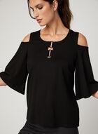 Elena Wang - Cold Shoulder Bell Sleeve Top, Black, hi-res