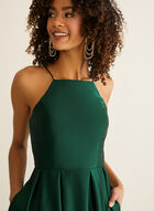 Betsy & Adam - Apron Neck Satin Ball Gown, Green