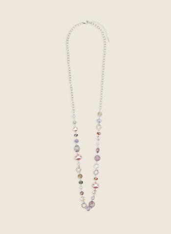 Long Assorted Bead Necklace, Purple,  necklace, long, pearls, stones, beads, faceted, metallic, spring summer 2020