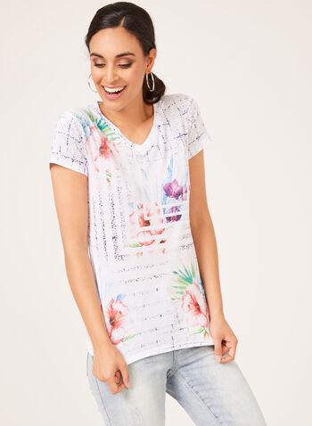 Vex - T-shirt fleuri à manches courtes et col V, Orange, hi-res