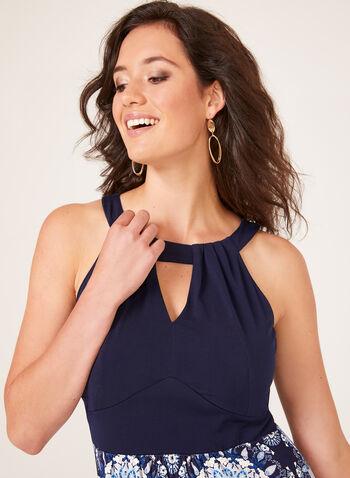 Floral Print Cleo Neck Maxi Dress, Blue, hi-res